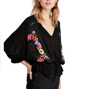 Free People embriodered eyelet blouse top S